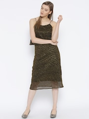 Vero Moda Women Black & Golden Shimmer A-Line Dress