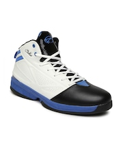 Boltio Men White & Black Colourblocked Mid-Top Basketball Shoes