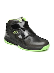 Boltio Men Black Mid-Top Basketball Shoes with Mesh Detail