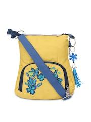 Pick Pocket Yellow Embroidered Sling Bag