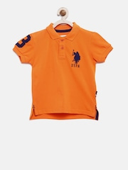 U.S. Polo Assn. Kids Boys Orange Solid Polo T-shirt