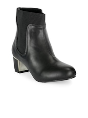 Flat n Heels Women Black Solid Heeled Boots