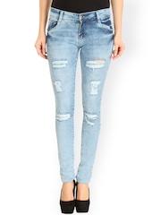 fungus Women Blue Slim Fit Low-Rise Mildly Distressed Jeans