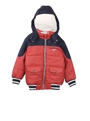 Beebay Boys Orange & Navy Colourblocked Hooded Puffer Jacket