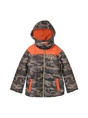 Beebay Boys Khaki & Orange Camouflage Print Quilted Hooded Jacket