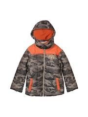 Beebay Boys Olive Green & Orange Camouflage Print Quilted Hooded Jacket