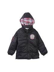 Beebay Boys Black Quilted Hooded Jacket