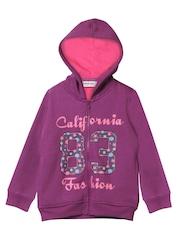 Beebay Girls Purple Printed Hooded Sweatshirt