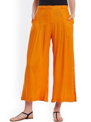 PANIT Women Orange Solid Palazzo Trousers