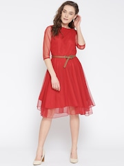 fc2365495 U F Women Red Solid Fit Flare Dress U F Dresses available at Myntra for Rs .449