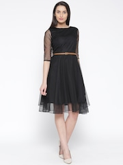c603038a2 U F Women Black Solid Fit Flare Dress U F Dresses available at Myntra for Rs .449