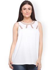 plusS Women Off-White Solid Regular Top
