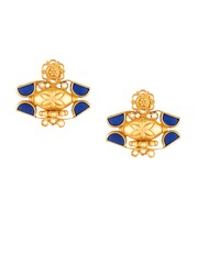 ahilya Gold-Plated Sterling Silver Stud Earrings with Lapis Lazuli & Pearl Cabochons