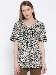 FOREVER 21 Women Black & Off-White Animal Print Shirt