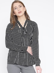 FOREVER 21 Women Black Striped Casual Shirt