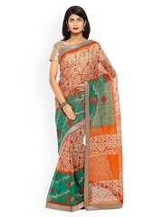 Inddus Beige & Green Printed & Embroidered Cotton Saree