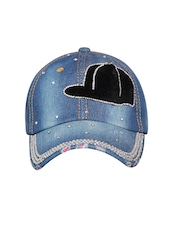 FabSeasons Women Blue Embellished Denim Cap