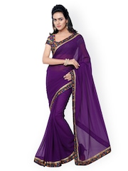 Florence Purple Faux Georgette Saree