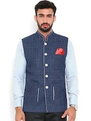Shaftesbury London Blue Checked Nehru Jacket