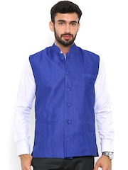 Shaftesbury London Blue Nehru Jacket