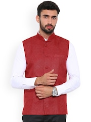 Shaftesbury London Maroon Nehru Jacket