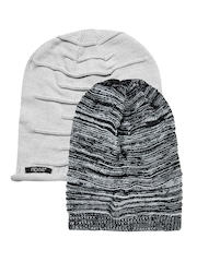 NOISE Unisex Grey Pack of 2 Beanies