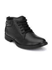 Mactree Men Black Mid-Top Flat Boots