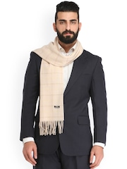 Alvaro Castagnino Cream-Coloured Checked Striped Muffler