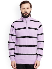 GRITSTONES Purple & Black Striped Sweatshirt