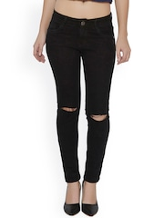 20Dresses Women Black Skinny Fit Mid-Rise Slash Knee Jeans