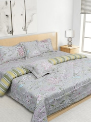 S9home By Seasons Grey Printed Co Ordinated Bedding Set With Quilt Comforter