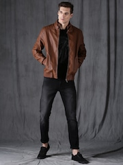 Wrogn Men Tan Solid Biker Jacket