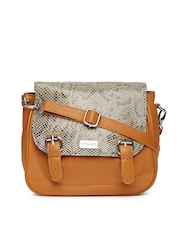 Satya Paul Beige & Orange Printed Leather Sling Bag