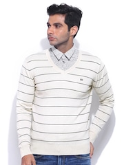 Arrow Sport Beige & Navy Striped Woollen Sweater