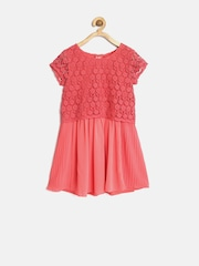 Elle Kids Girls Coral Pink Lace Tailored Dress