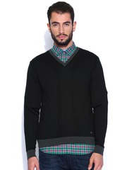 Arrow New York Black Woollen Sweater