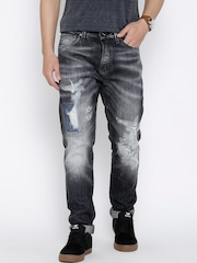 Jack & Jones Black Washed Distressed Jeans