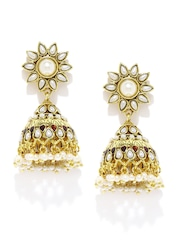 Fida Gold-Toned & Off-White Jhumka Earrings