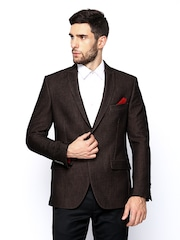 Theme Men Brown Fitted Fit Blazer
