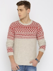 United Colors of Benetton Beige & Red Patterned Sweater