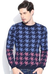 United Colors of Benetton Blue Houndstooth Sweater