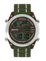 Sonata Men Ocean Series Olive & Brown Digital Watch 77034PP02