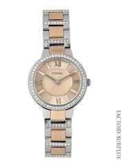 Fossil Women Rose Gold-Toned Dial Watch ES3405