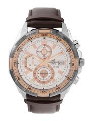 CASIO Edifice Men Silver-Toned Dial Chronograph Watch EX221