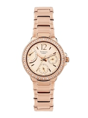 CASIO Women Rose Gold-Toned Dial Watch SX135