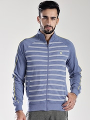 HRX by Hrithik Roshan Blue Striped Sprint Sports Training Active Sweatshirt