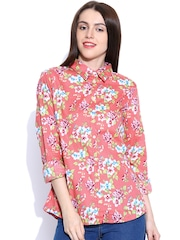 United Colors of Benetton Women Coral Pink Printed Casual Shirt