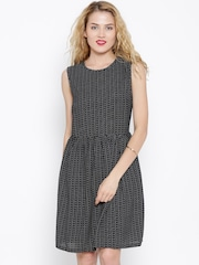 United Colors of Benetton Black Printed A-Line Dress