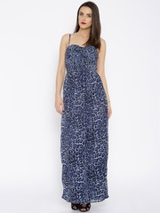 Noble Faith Blue & Black Animal Printed Maxi Dress