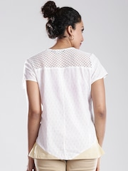 by Shraddha Kapoor White & Beige Printed Top